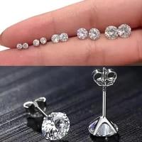 2pcs genuine real solid 925 sterling silver stud earrings 2021 korean fashion jewelry round zircon female earrings bijoux gift