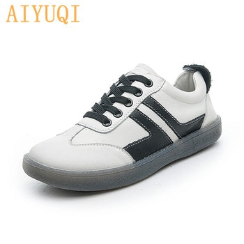 AIYUQI Women Sneakers Genuine Leather 2021 Spring New Fashion White Shoes Girls Casual Flat Large Size Student Board Shoes Women