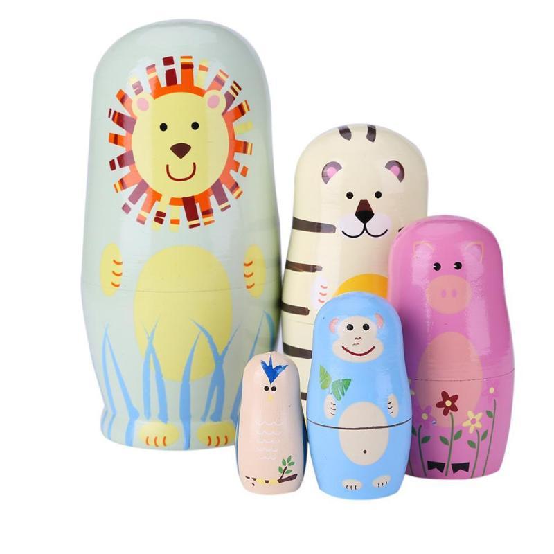 5 pçs russo matryoshka bonecas basswood madeira russa aninhamento matryoshka bonecas definir urso orelha animal pintado brinquedos estilo étnico