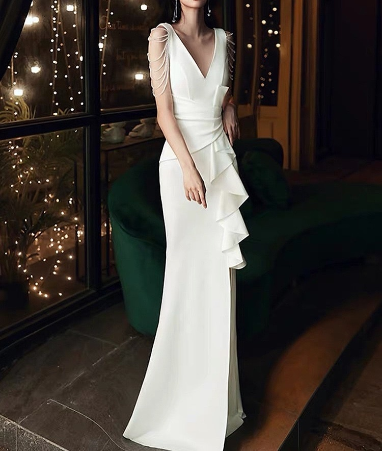 White Cocktail Dresses Sexy Satin Bead Mermaid High Slit V-Neck Sleeveless Ruffle Floor Length Formal Party Guests Evening Gowns