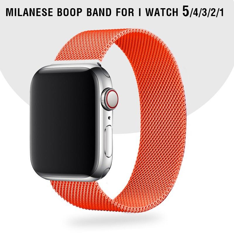 44 mm banda naranja pulsera Milanese Loop correa para Apple Watch serie 5 4 Acero inoxidable pulsera teléfono 3 2 pulsera de 38 mm 42 mm