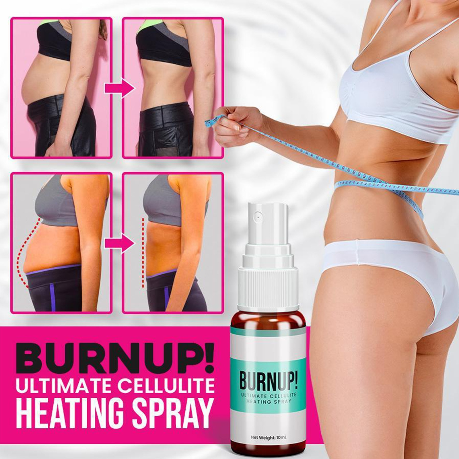 Burn Up Ultimate Cellulite Heating Spray Losing Weight Body Slimming Spray Quick Absorption and Pene