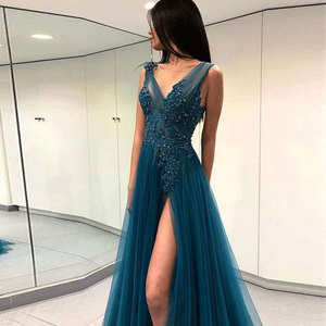 A-line 2021 Evening Dresses Net/Tulle V-Neck Sweep/Brush Party Gowns Applique Beading Sleeveless Front/Side Slit Party Dresses