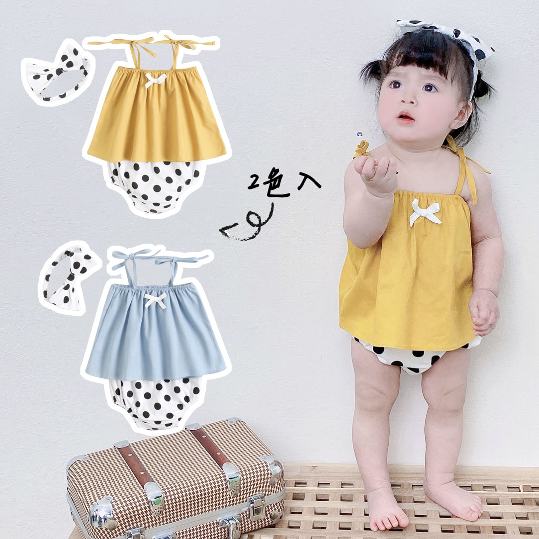 Yg brand baby clothes summer baby suit cotton baby girl lovely suspender skirt three piece set