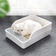 Bac à litière pour chat Anti-éclaboussures déodorant Semi-fermé pour chien de compagnie cuvette de toilette pour chat bac à sable avec pelle