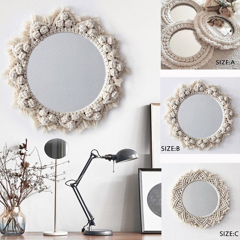 Bohemian Decor Wall Hanging Living Room Mirrors Circle Big Flower Vintage Glass Macrame MandalaHome Bedroom Wall Deor Mirror