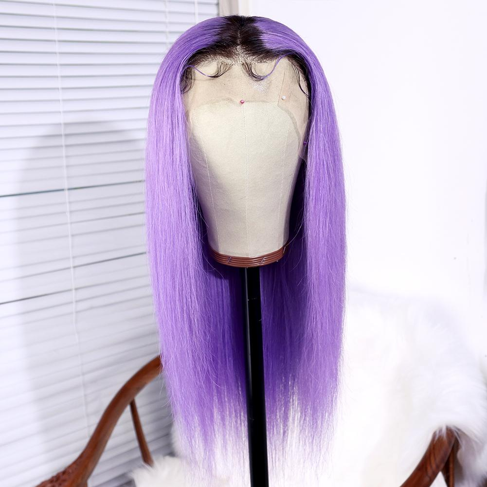 Ombre Wig 1B Purple Straight Brazilian Virgin Human Hair Lace Front Wig With Baby Hair 180 Density