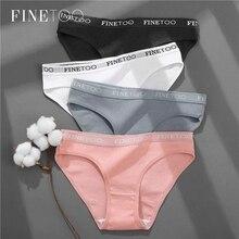 FINETOO-ropa interior de algodón para mujer, bragas sexys de Color sólido, lencería íntima, 3 unids/set por M-2XL
