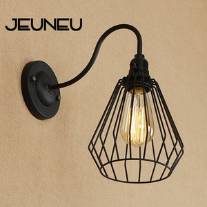 Retro Simplicity Wall Lamp LED E27 with Switch Indoor Stairs Wall Light Iron Lampshade for Living Room Bedroom Restaurant Bar