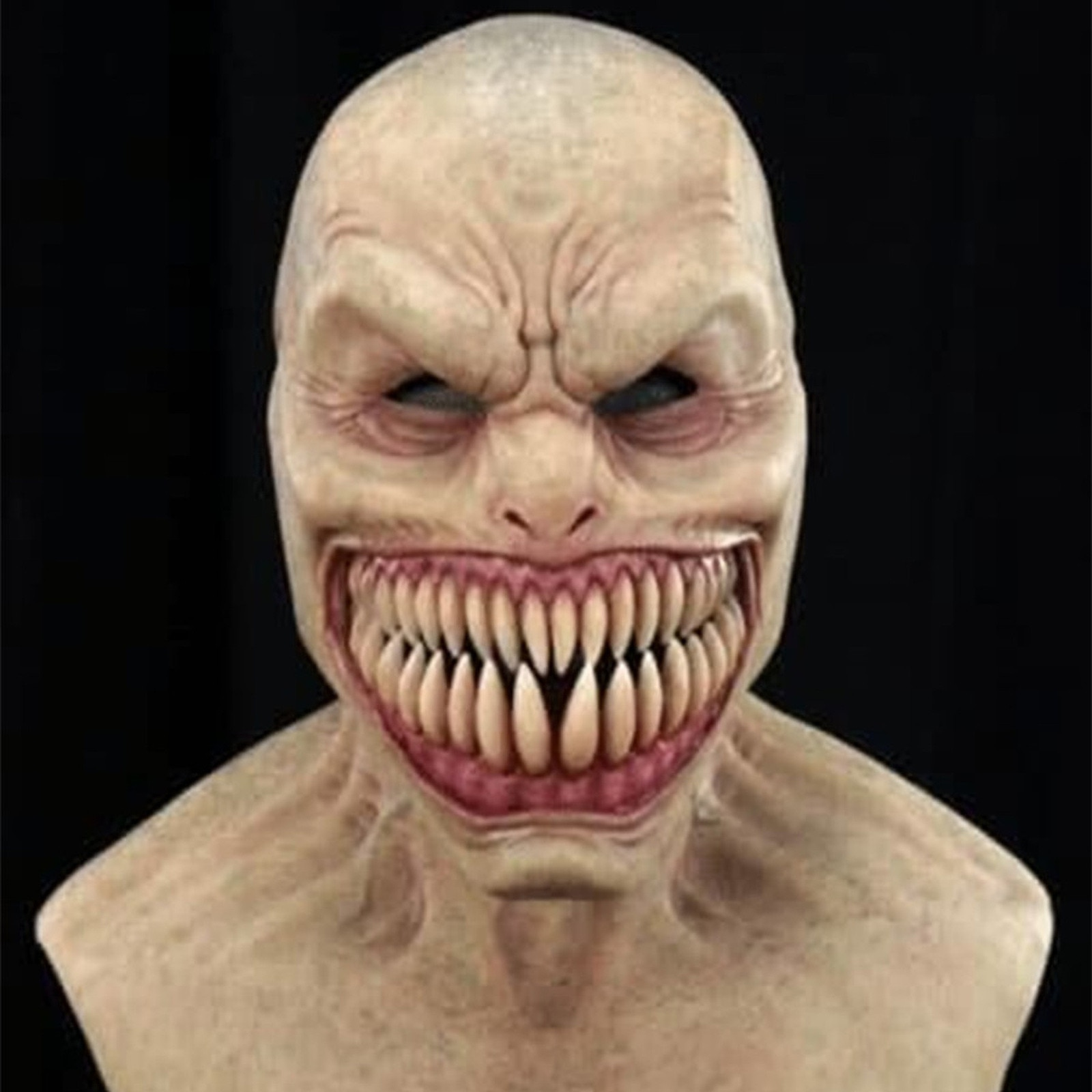 Sharp Teeth Big Mouth Halloween Toy Horror Wrinkle Scary Face Mask Masquerade Realistic Decor Evil Resident Grimace Mascaras