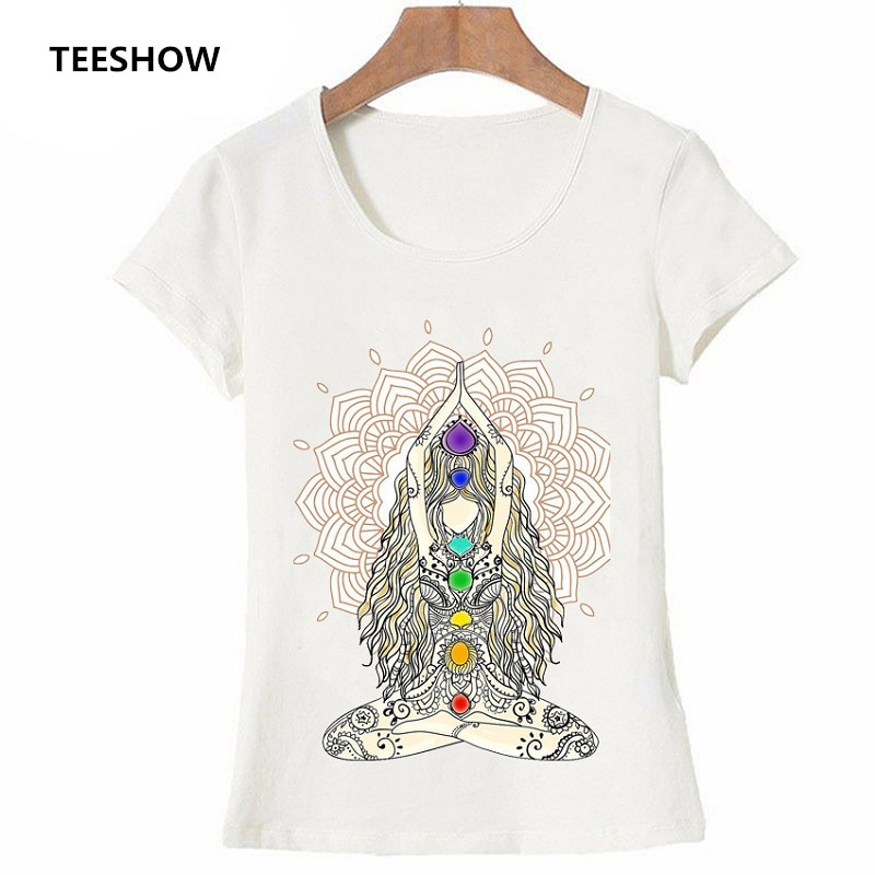 2020 New Women T-shirts Casual Harajuku Buddha Mandala Lotus Power Printed Tops Tee Short Sleeve Fashion T shirt Women Clothing