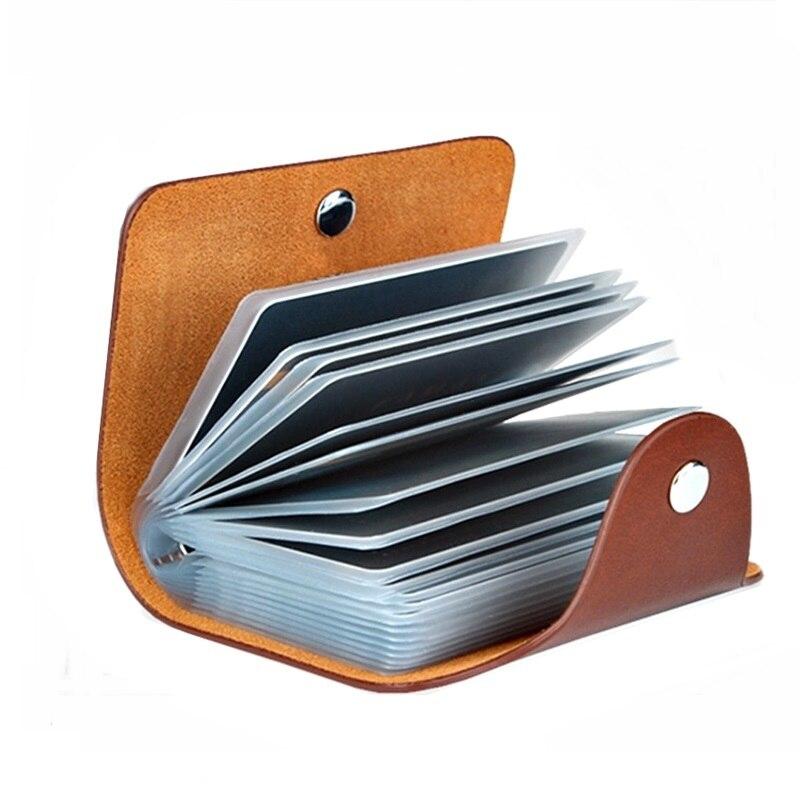 Neue Leder Funktion 24 Bits Karte Fall Visitenkarte Halter Männer Frauen Kredit Passport Karte Tasche ID Passport Karte Brieftasche 8 farben
