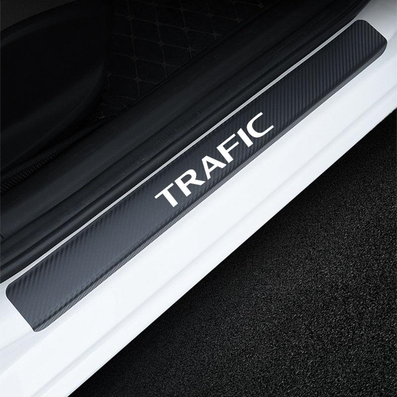 Porta do carro peitoril scuff placa adesivo para renault fibra de carbono anti risco decoração adesivos acessórios do carro interior 4pcs