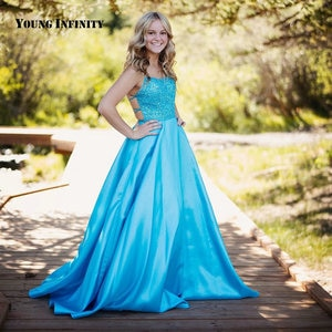Beautiful Blue Floor-Length Prom Dress Halter Backless Sleeveless Sequined Sweep Train A-Line Party Gown 2020 Evening Dress
