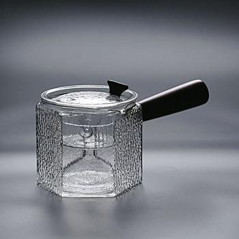 Side handle teapot glass tea maker thickened heat-resistant filter bubble teapot wooden handle orange tea steamer teapot