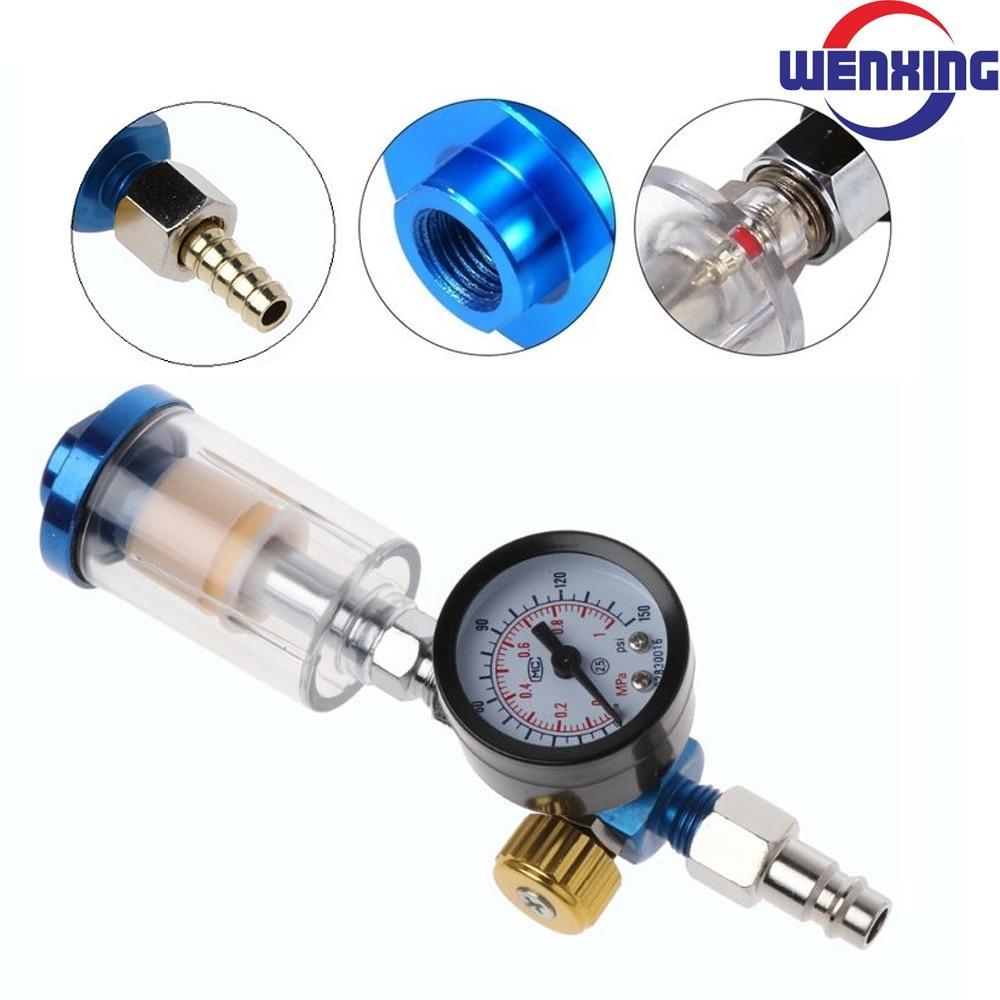 Měřič tlaku vzduchu v stříkací pistoli + in-line filtr lapače vody + adaptér JP / EU / US pneumatické nářadí příslušenství pro airbrush