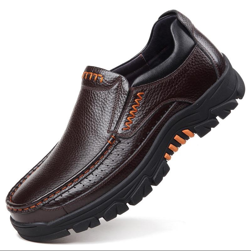 2020 حقيقية أحذية من الجلد حذاء رجالي لينة جلد البقر الرجال حذاء كاجوال 2020 جديد الذكور الأحذية أسود براون الانزلاق على A2088