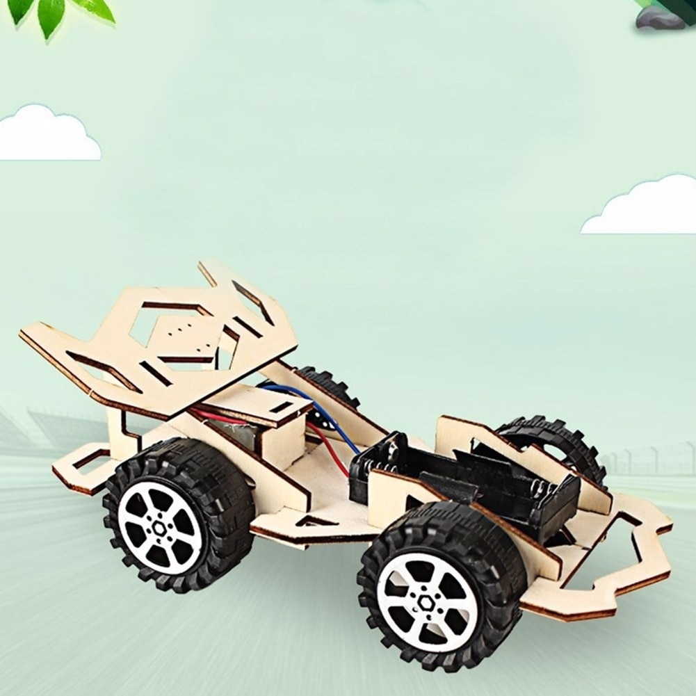 Сборка гоночного автомобиля модельный комплект принцип познания обучение научное DIY Дети деревянные Забавные игрушки развивающие, Обучающ...