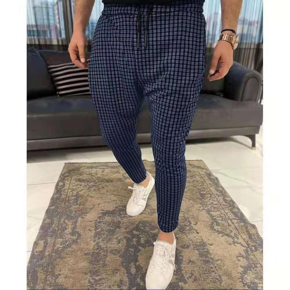 Новинка 2021, мужские брюки, повседневные брюки, облегающие Стрейчевые мужские брюки, облегающие мужские повседневные брюки в клетку, мужская...