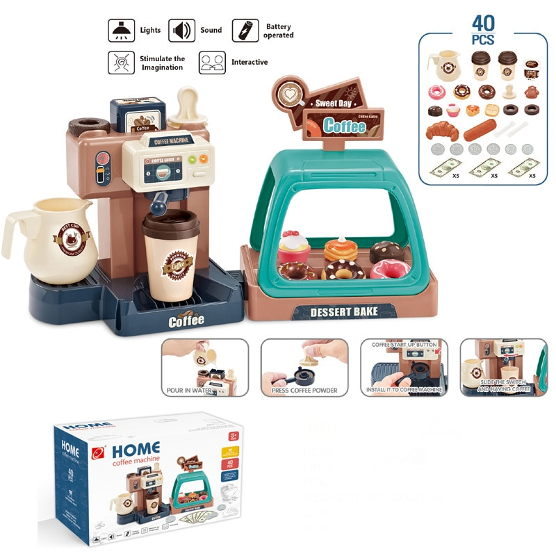 Детский игровой домик, развивающие игрушки, мини-кухня, имитация еды, мороженое, Пончик, супермаркет, кофейная машина, набор, подарок для дет...