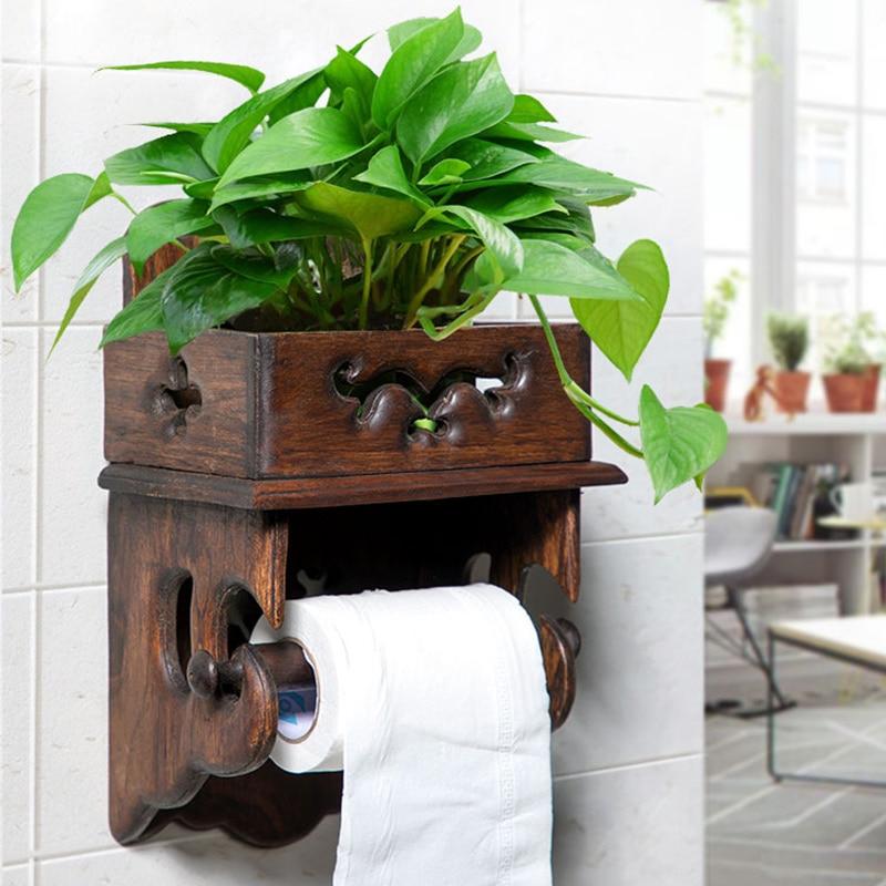 Винтажная деревянная стойка для полотенец, стойка для туалетной бумаги, коробка для туалетных салфеток, держатель рулона для ванной, держатель туалетной бумаги без перфорации