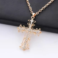 god we trust crystal cross pendant necklace jewelry gift for women