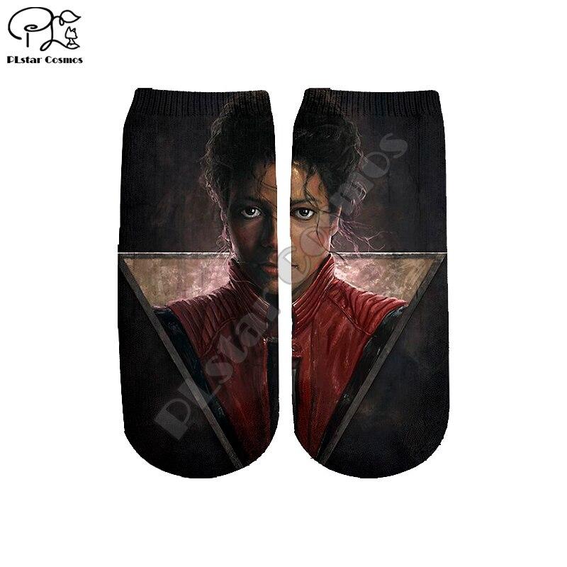 Plstar cosmos transporte da gota michael jackson 3d impresso mulher/homem/menino/menina harajuku colorido casual caber curto tornozelo meias estilo-2