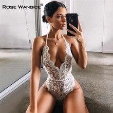 Fashion Backless Halter Lace Bodysuit Transparent Female Body Hot Sexy Teddies 2021 Jumpsuits Women