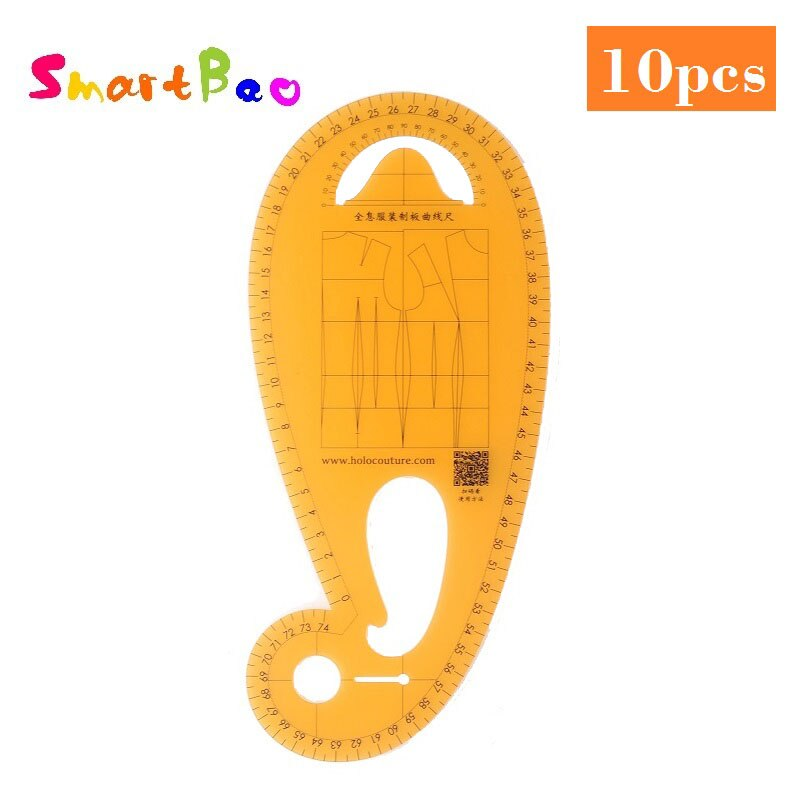 Wholesale Fashion Flexible Durable Sewing Ruler Clothing Curve Armhole Ruler Pattern Design Template Clear Orange Color 1mmThick