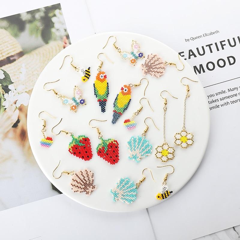 G.YCX Fashion Seed Beads Miyuki Bee Parrot Animal Earrings Girls Lovely Strawberry Dangle Earring Handmade Boho Chic Jewelry