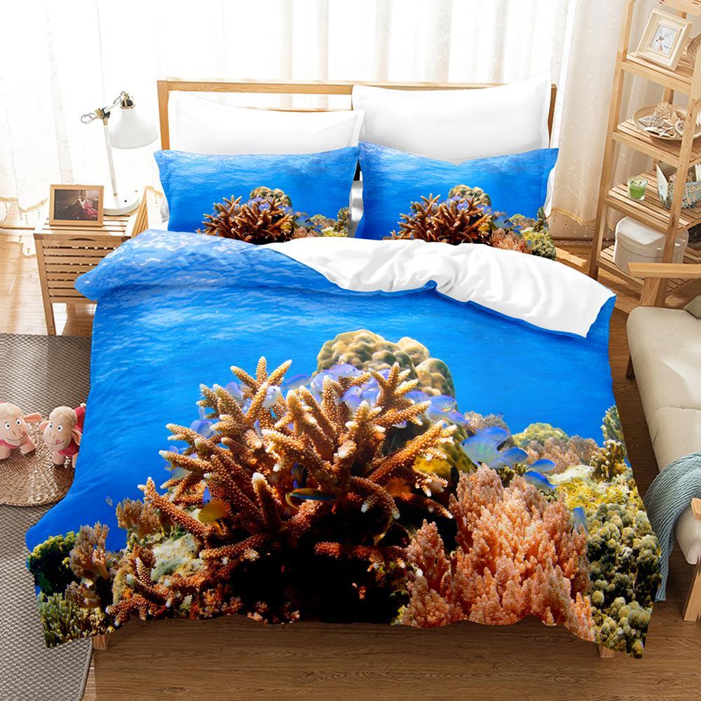 طقم سرير مرجاني مفرد التوأم كامل الملكة الملك الحجم المحيط المرجان مشهد طقم سرير غرفة نوم الطفل مجموعات Duvetcover 010