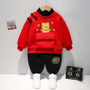 New Year Traditional Chinese Tang Suit for Baby Spring Autumn Thickened Velvet Warm Clothes Boy Zodiac Tiger Outerwear 2PCS