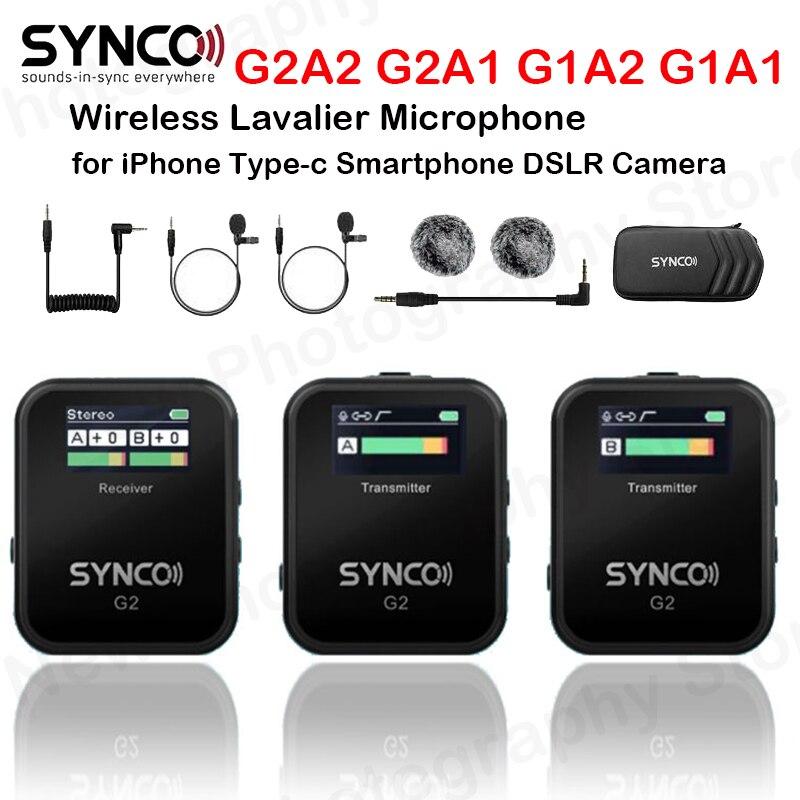 ميكروفون SYNCO G2 A1 G2 A2 G2A1 G2A2 ميكروفون رقمي لاسلكي لافالر مكثف ميكروفون لهاتف آيفون Type-C كاميرا DSLR للهواتف الذكية