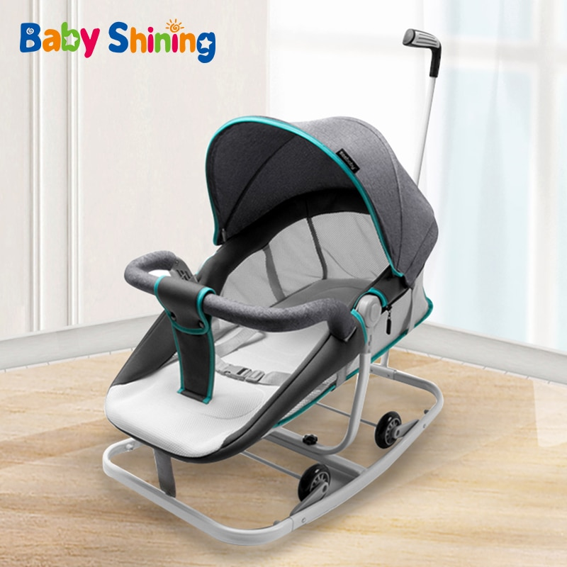 Baby Shining Baby Rocking Chair Child Recliner Coax Baby Comfort Chair Multifunctional Newborn Cradle Bed Travel Trolley