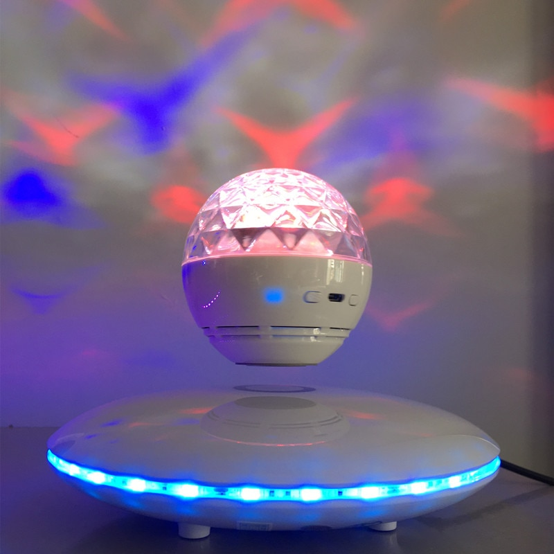 Magnetic Levitating Floating Bluetooth Speaker Wireless 360rotating Led Effect Lights Night Light Fashion Gifts Home Decorations