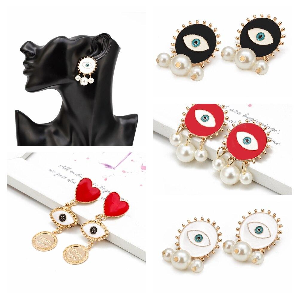 Cartão de desejo gotejamento óleo mal olho gota brincos feminino geométrica declaração pino brinco para festa exagerada jóias presentes bd465