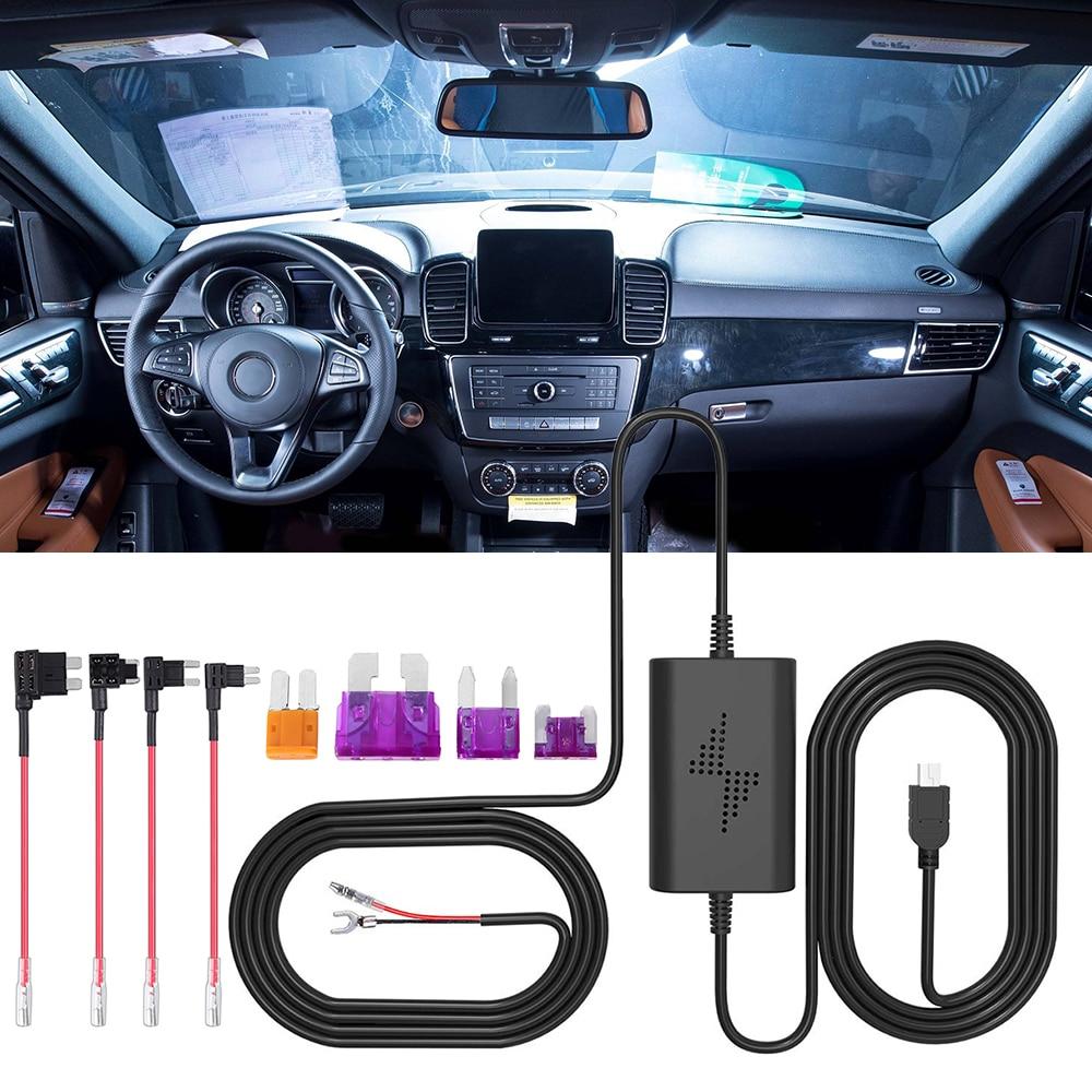 Универсальные аксессуары 12 В-30 в предохранитель коробка Автомобильный регистратор видеорегистратор набор жестких проводов с Micro USB жгутом ...