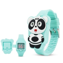 LED Cartoon Lovely Panda Children Watch Girls Rubber Electronic  Kids Wrist Watches ladies Flip Cove