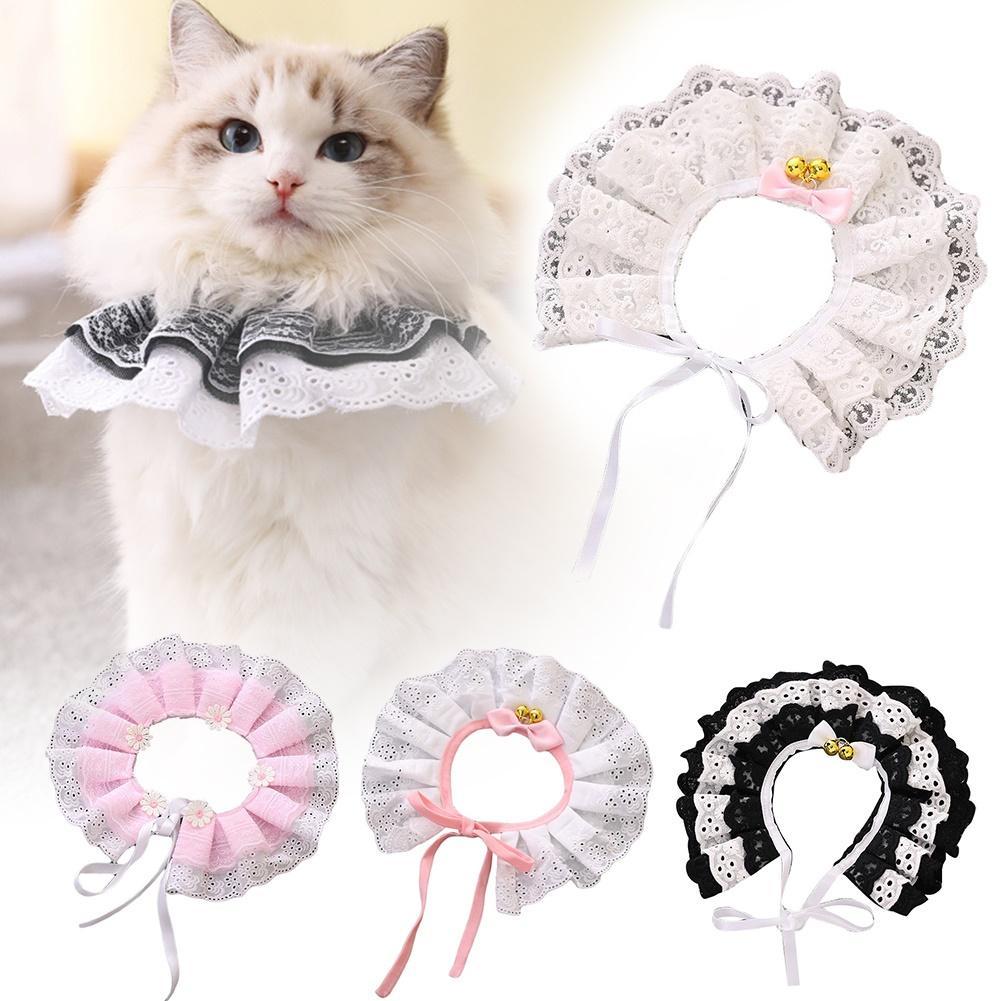 Gatos gatinho flor laço arco sino colar corda bib colar pescoço cinta animal de estimação fornecimento bonito e adorável