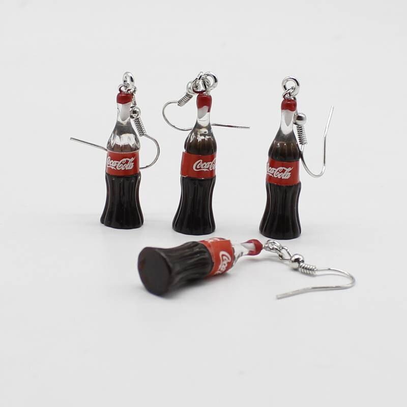 Nova simulação divertido beber coca-cola garrafa chaveiro bonito estilo Harajuku pequeno fresco verão brincos brincos