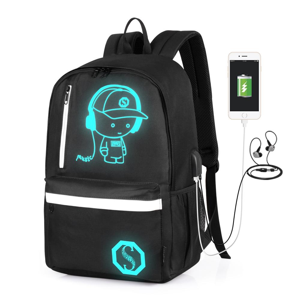 SenkeyStyle Luminous Men's Backpack for Boys School Backpack Bag with USB Charging Port Waterproof M