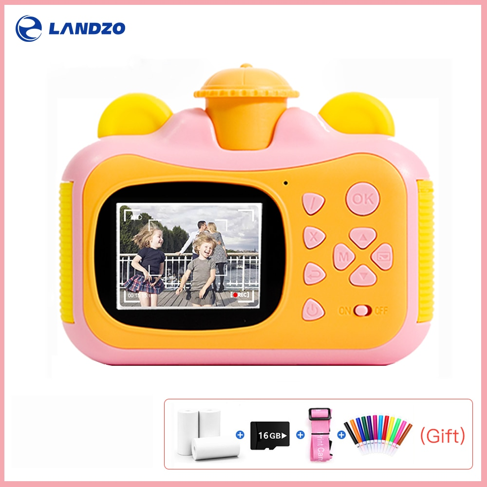 Landzo Instant Print Kids Rotate Camera Thermal Photo Paper 16GB TF Card Paint Pens Printing Camera for Children Print Cameras