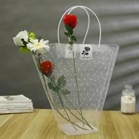 plastic pvc transparent flower packing bags long clear tote flower bouquet bagging portable gift bag rose florist decoration