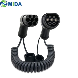 16A 11KW 32A 7.2KW EV plug  colied cable Type 2 to Type2 Mennekes connector electric vehicle charging station charger
