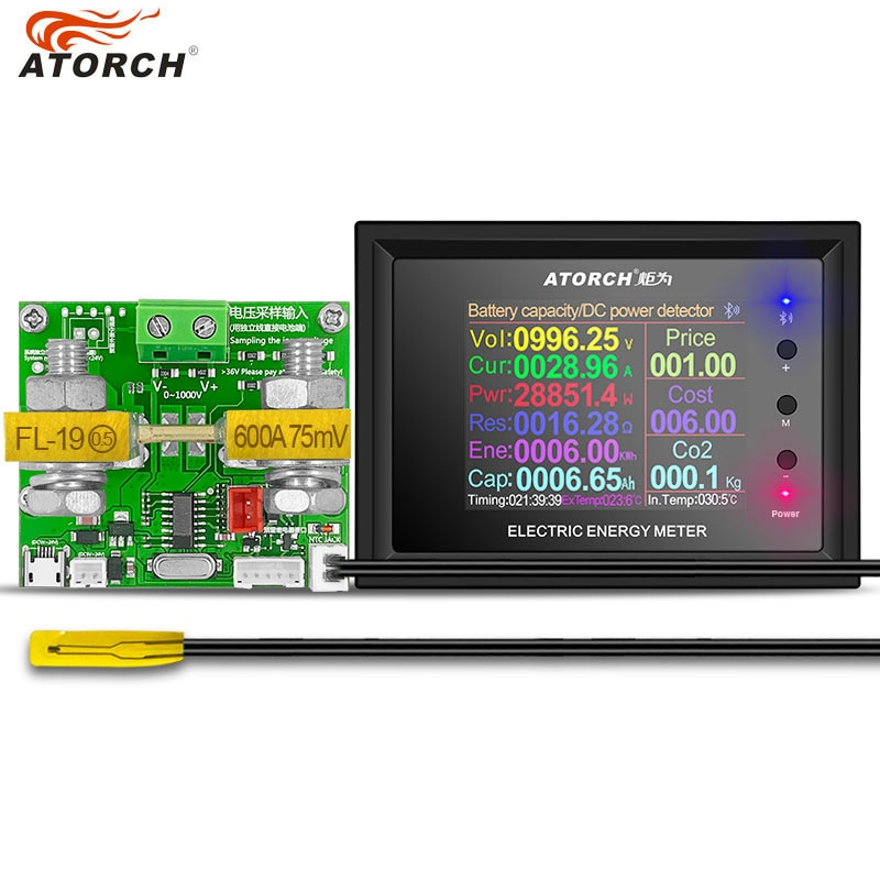 Dt24p dc1000v/0 600600a display digital dc fonte de alimentação voltímetro amperímetro bateria capacidade testador medidor combustível da bateria