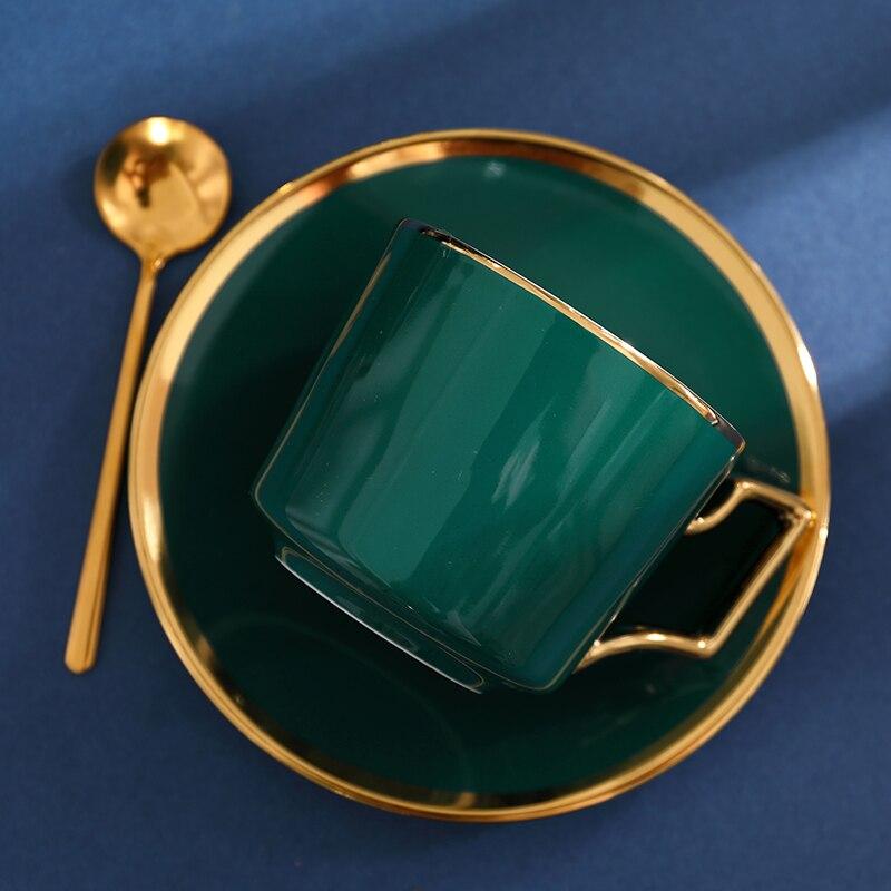 كوب شاي من السيراميك الأخضر الاسكندنافي ، طقم فناجين قهوة فاخرة ، مطلي يدويًا ، صحن بريطاني ، كافيه تازين ، مستلزمات يومية EF50CS