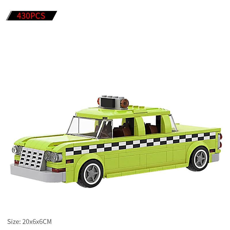 MOC City Street View Series Bricks Taxi Driver Car Model Taxi-Cab Collection Building Blocks Toys Gifts for Children Kids Gift lele 30008 2262pcs creator city street detective s office model building kit blocks bricks toys for kids gift 10246