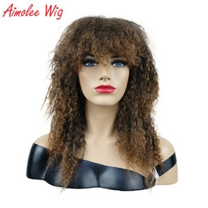 Aimolee Synthetic Wigs Long Curly Hair Black/Brown Ombre Natural Wig for Women
