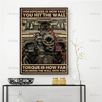car automobiles lovers poster horsepower is how fast you hit the wall torque is how far prints home decor canvas floating frame