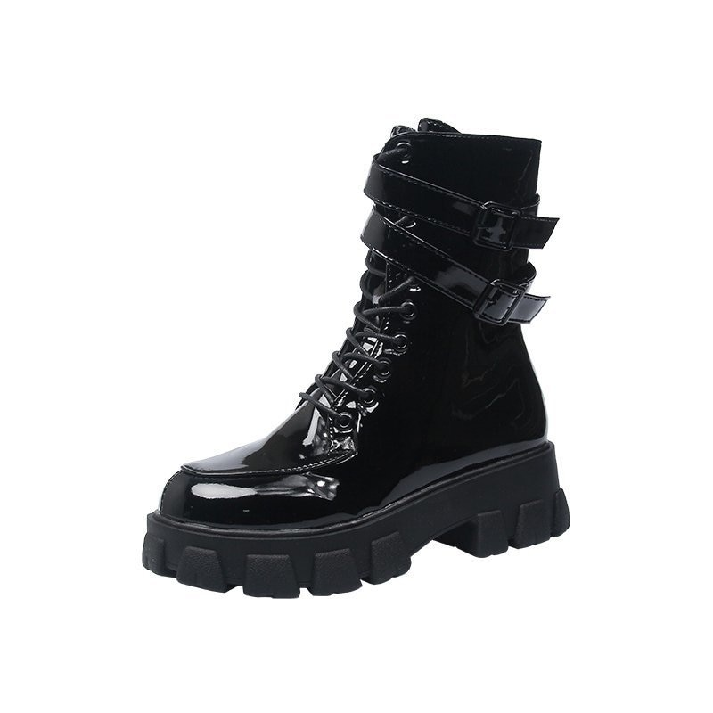 Autumn and winter short boots thick bottom muffin thin boots 2020 new British style black high top boots  - buy with discount